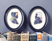 Pair of Embroidered Up-cycled Bust Silhouettes in Black Oval Frames