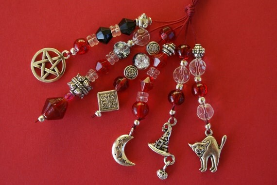 NEW Handbag Charm - Pagan, Wiccan, Witch, Beaded Charm, Keyring