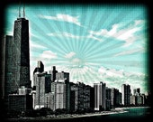 Chicago Lakefront Skyline Photograph Pop Art - 8 x 10 Photo - City Blue Black Sunburst