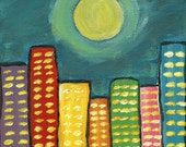 Original Acrylic Art Painting - City at Night 6 x 6 Full Moon Yellow Blue Pink Red Purple Blue Green Rainbow