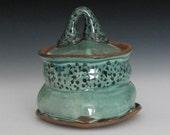 copper green black spotted jar