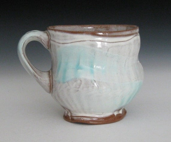 white and copper blue green terra cotta mug