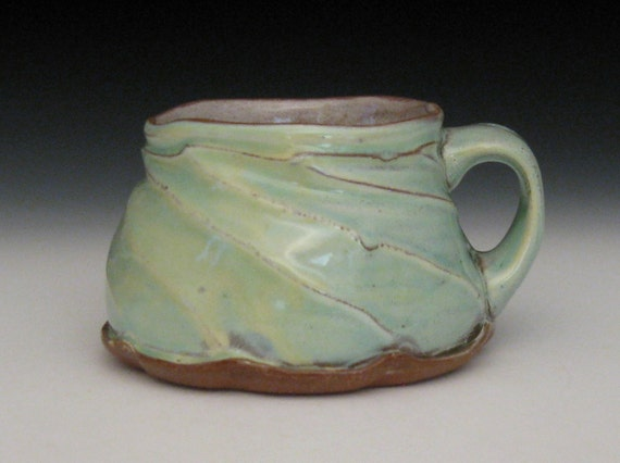 wild aqua green yellow blue faceted twisted mug