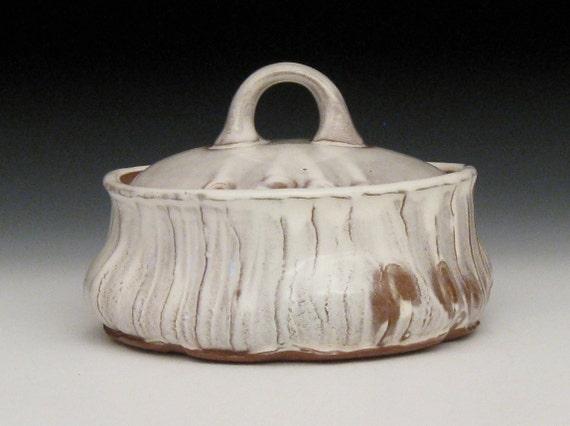 white slipped fingerprint marked lidded bowl