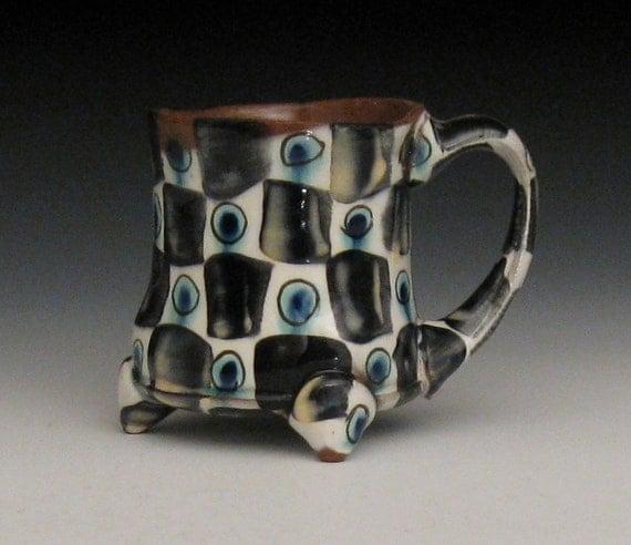 checkered pattern mug black white blue