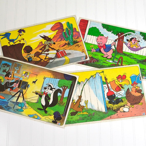 Looney Tunes Placemats by Pepsi, 1976 - Daffy Duck, Road Runner, Wile E. Coyote, Porky Pig, Foghorn Leghorn on Vinyl Mats, SET OF 4