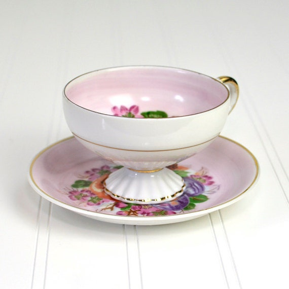 Peach, Plum, Fruit and Flowers Tea Cup & Saucer Set - Painted Pink Transferware with Gold Trim, Pedestal Style - Vintage Home Decor or Use