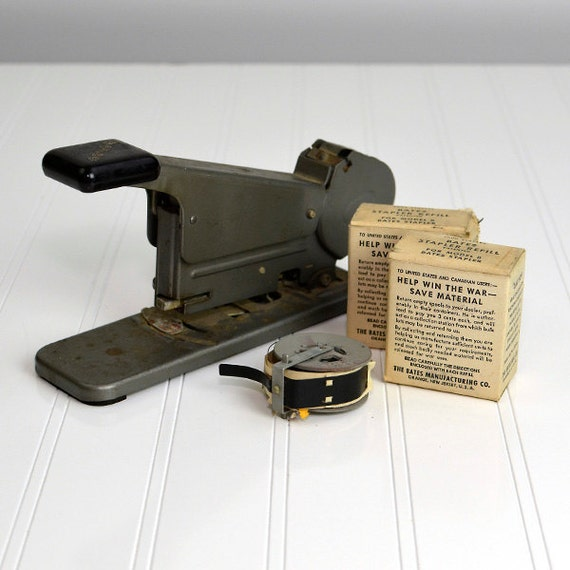 RESERVED For MIKE - Bates Model B Industrial Stapler with Wire Refill Spools - WWII Era War Effort Original Package Boxes