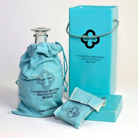 Tiffany & Co. Crystal Decanter Set with Original Bag and Box - Christian Brothers Tricentennial Brandy Bottle, 1980