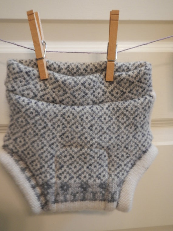 Wool shorties Upcycled soaker cloth diaper cover size Medium gender neutral boy girl Recycled Repurposed sweater solar made