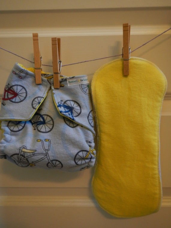 Vintage Bikes fitted flannel cloth diaper Cruiser bicycles one size fits all OS boy girl Upcycled Recycled Repurposed solar made