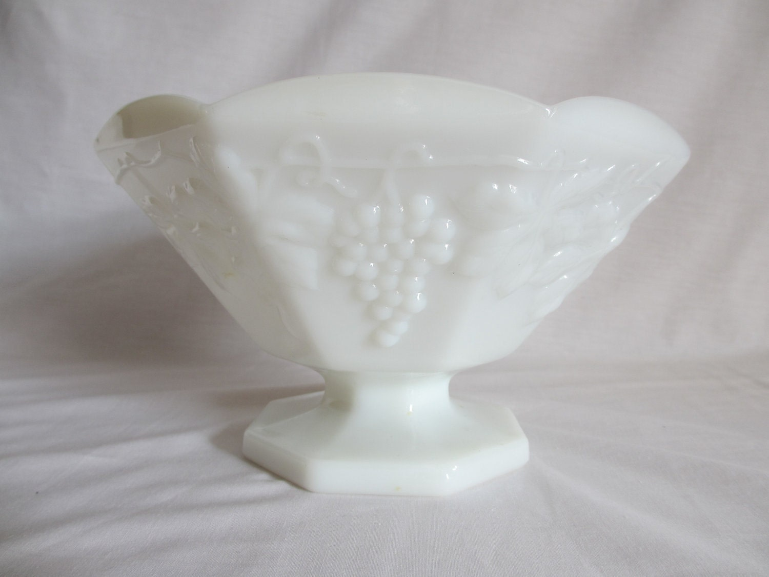 Vintage white milk glass compote or fruit bowl with grapes