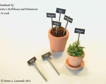 Dollhouse Garden Miniature Herb Tags  1:12  - 'Chalkboard & Zinc' - 7 different herbs - ENGLISH TEXT (PT3)