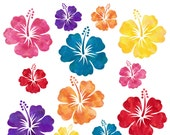 INSTANT DOWNLOAD - Watercolor Hibiscus Digital Clip Art - Red, Yellow, Orange, Pink, Purple, Teal - For Personal and Commercial Use