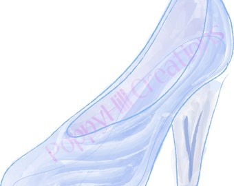 INSTANT DOWNLOAD - Cinderella's Glass Slipper - Digital Design - For Personal or Commercial Use