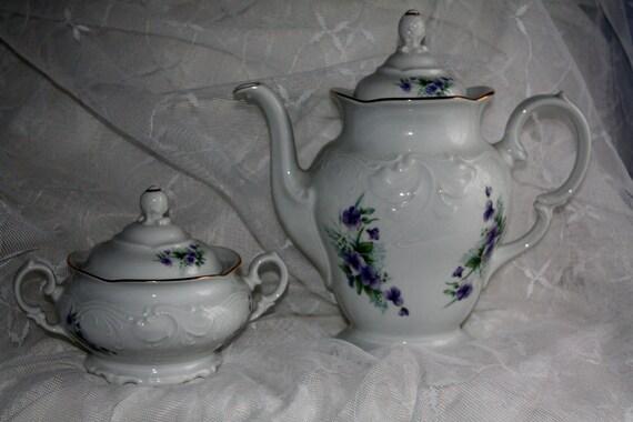 "Royal Kent ""Violets"" China Coffee/ Teapot & Sugar Bowl Set- Poland"