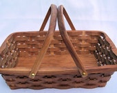 Wood serving basket, Handmade cherry