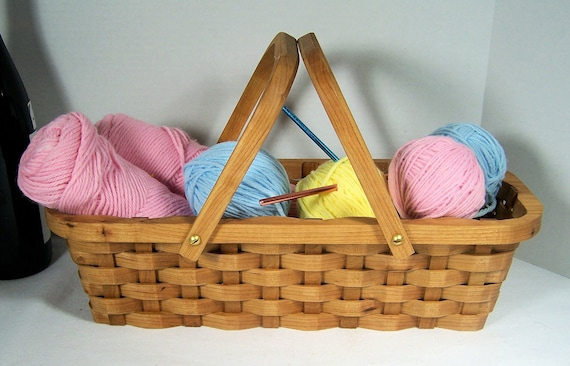 Knitting supplies tote basket Cherry with handles