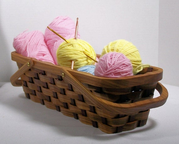 Knitting supplies tote basket handles Red Elm wood