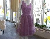 1950s pastel lavender tulle party dress chiffon madmen vlv doll vintage