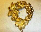 Vintage Brooch Fox Art Nouveau Style & Grapes Vines brass stamping ON Sale Steampunk Jewelry Crafts