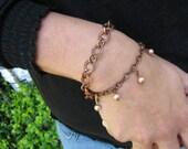 Copper Bracelet w/ pearls