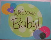 Green Polka Dots and Teal with Buttons Welcome Baby Card