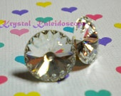 Crystal Clear Rivolis - Post Earrings handmade with Swarovski Elements,  18mm Studs