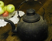 Vintage Cast Iron Kettle - Coffee Pot - Very Old and Unusual Antique Colonial