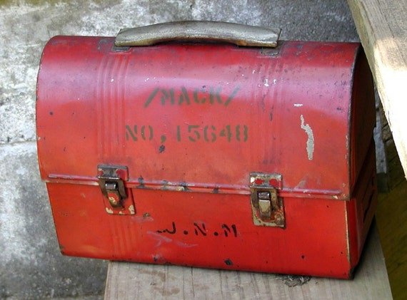 Vintage Lunch Box Red Tin Industrial Steam Punk