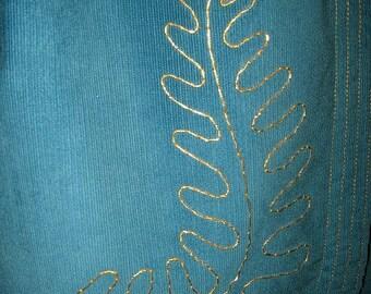 Teal Corduroy Jacket, Gold Embroidered Leaf Design
