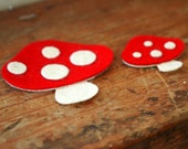 Red Toadstool - Mushroom Appliqué - Wool Felt - set of 2