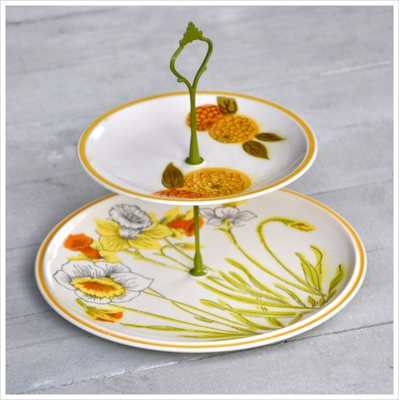 RESERVED FOR AKI Daffodils & Dahlias: Cake Stand, 2 Tier Mini Cupcake Stand, Yellow Wedding, Vintage Table, Gift Set