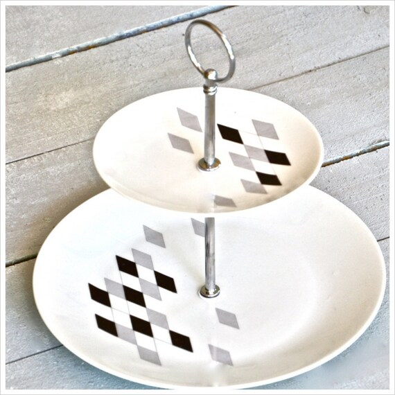 Game Night: Cake Stand, Cupcake Stand, Geometric, Gray and Black, Diamonds, Playing Cards