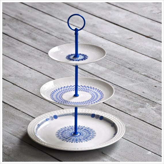 RESERVED FOR VIRGINIA Provençal: Blue and White Cake Stand, Vintage China Cupcake Stand, Wedding Dessert Table, Gift Set