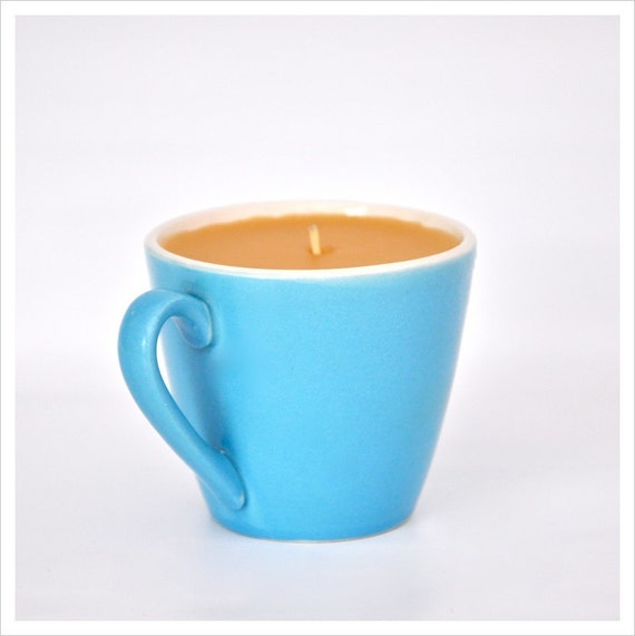 RESERVED 100% Pure Beeswax Candle, 1950's Aqua Teacup