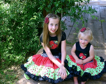 Fun Lady bug matching outfits Beautiful, Frilly, Adorable Custom Boutique Girls  Twirling Skirt and shirt