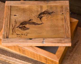 Waterfowl Curio Box with wood burned Canadian Geese on removeable