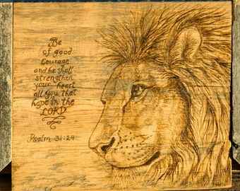 Lion of Judah Curio / Bible Box with wood burned Lion an Psalm 31:24 on flip top lid