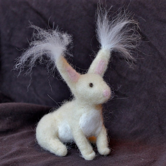 Tiny Pocket Angora Rabbit - Felted with Real Angora Fiber