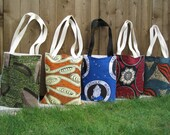 Colourful Book Bags/Tote Bags made with Vibrant African Fabrics