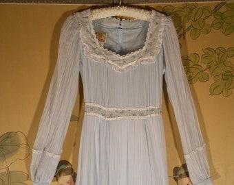 Vintage 70s Gunne Sax Prairie dress blue LACE and PEARL flowy hippie BOHEMIAN festival