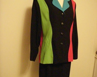 Charles Glueck NY Designer Multi-Colored Suit