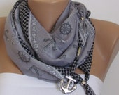 GRAY SPRING SCARF with beads. Headband. Necklace. For 4 seasons. For. her. Nicktie. Summer anchor scarf.