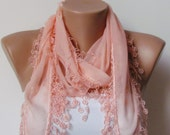 SALMON SPRING SCARF. Scarf with fringe. Headband. Necklace. For 4 seasons. For her. Valentine.Necktie.