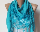ON SALE. BLUE Scarf with fringe and lace. Triangle Shawl Scarf.Lace scarf. For 4 seasons. For her. Summer Shawl. Pashmina Scarf