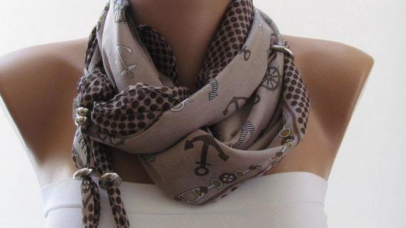 SPRING SCARF. Anchor Scarf. Headband. Necklace. For 4 seasons. Beige. Light brown.