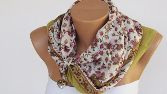 FLORAL SCARF. Cotton Headband. Necklace. For 4 seasons. Green. Pink Flowers pattern.
