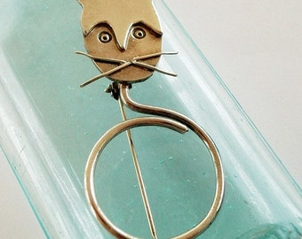Vintage Sterling Silver Cat Brooch Pin Pendant