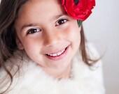 Red Poppy Floral Headband Fascinator
